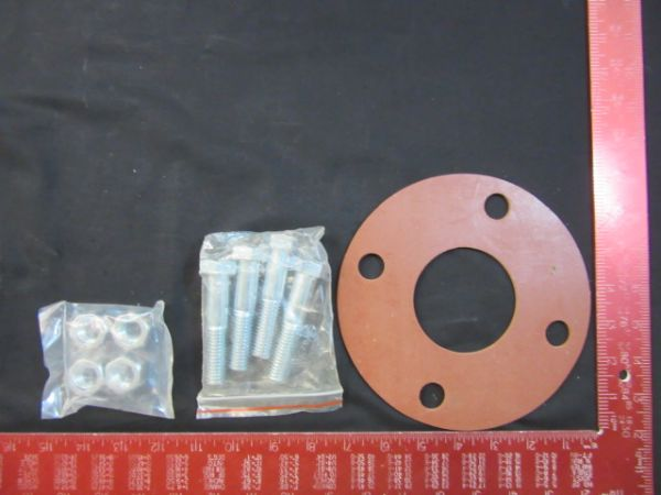 NOR-CAL VACUUM PRODUCTS GSFFG2.5 RING GASKET KIT WITH 4 BOLTS, 1/8 STYRENE BUTADIENE RUBBER