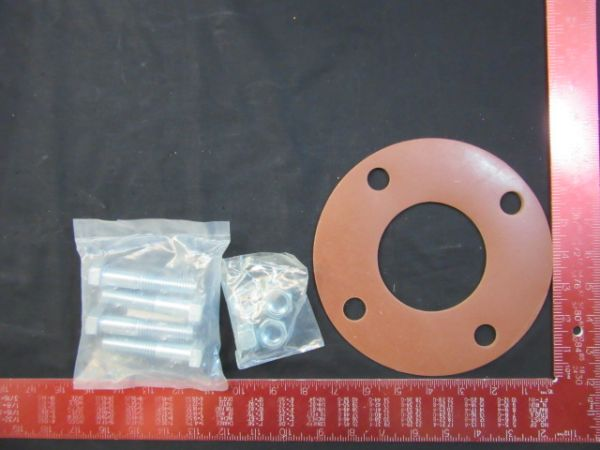 NOR-CAL VACUUM PRODUCTS GSFFG3 RING GASKET KIT WITH 4 BOLTS, 1/8 STYRENE BUTADIENE RUBBER