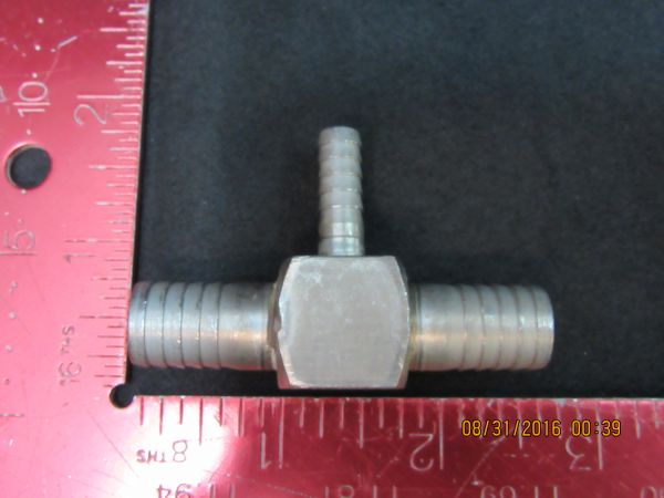 THOGUS 4HFN8 Barbed Reducing Tee 303 Stainless Steel 12 x 12 x 14 Barb Size Silver