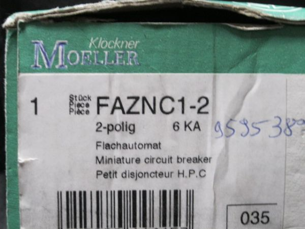 KLOCKNER-MOELLER FAZNC1-2 BREAKER 1A 400V 2PL
