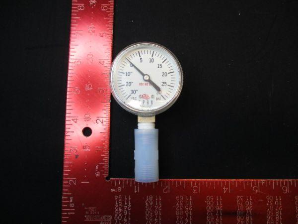 """Applied Materials (AMAT) 3310-01123   GAUGE PRESS 30HG/30PSI 1 %AC 2""""D 1/4MNPT"""