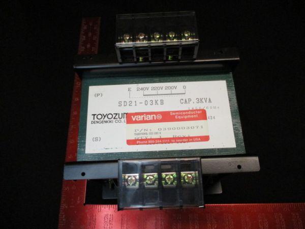 Toyozumi SD21-03KB Transformer Cap. 3kVA, 1Phase, 0-240V