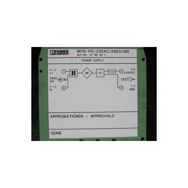 PHOENIX CONTACT 2786047 MCR-PS-230AC/24DC/100; POWER SUPPLY, 24V/100MA