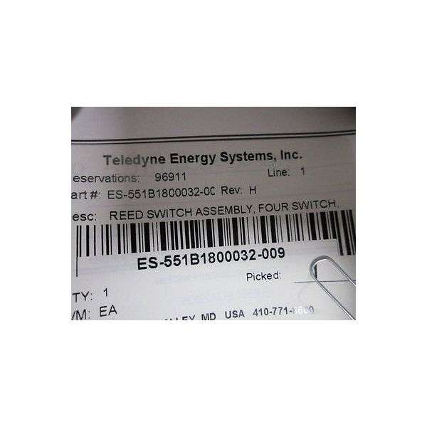 TELEDYNE ENERNGY SYSTEMS ES-551B1800032-0C REED SWITCH ASSY FOUR SWITCH