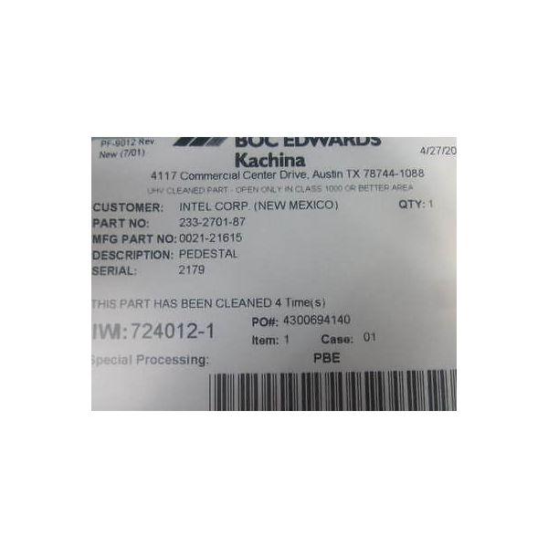 BOC EDWARDS 0021-21615 101 FLOATING PIN PEDESTAL, W/ DEP DAM
