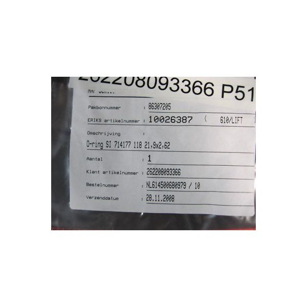 ERIKS 10026387 O-RING SILICONE 21,9X2,62 AS118