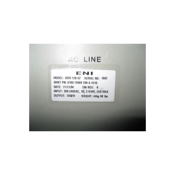 Applied Materials (AMAT) 0190-70080 ENI OEM-12B-02 RF GENERATOR POWER SUPPLY