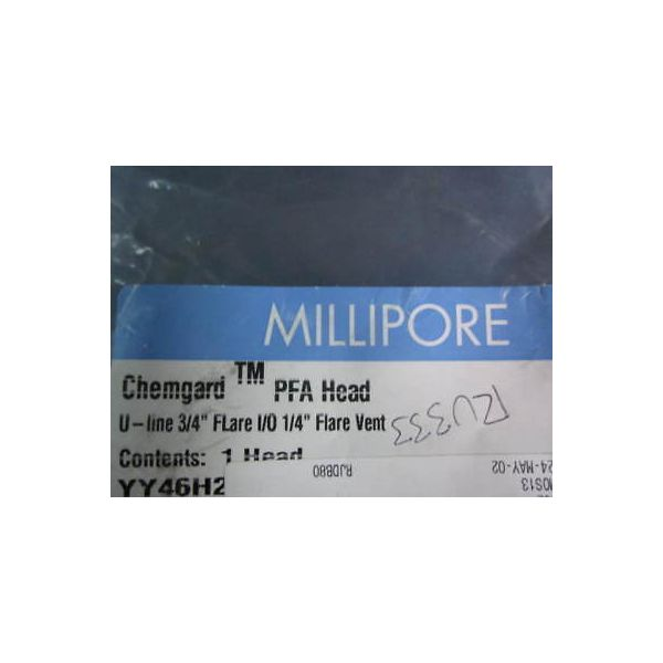 "MILLIPORE CORP YY46H2F0F HOUSING HEAD, U-LINE 3/4"" FLARE I/O 1/4\"" FLARE VENT, SS"