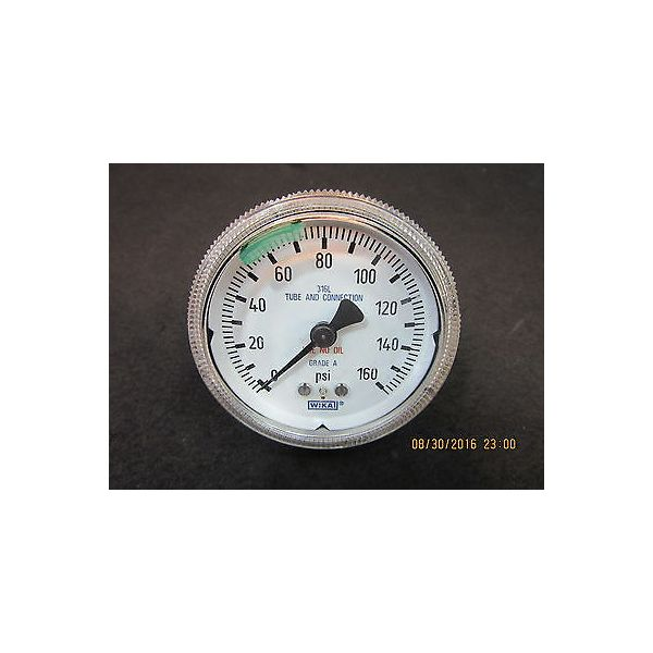 "WIKA 9768319 2-1/4"" Back Mount Pressure Gauge Test 0-160Psi 1/4NPT Stainless Ste"