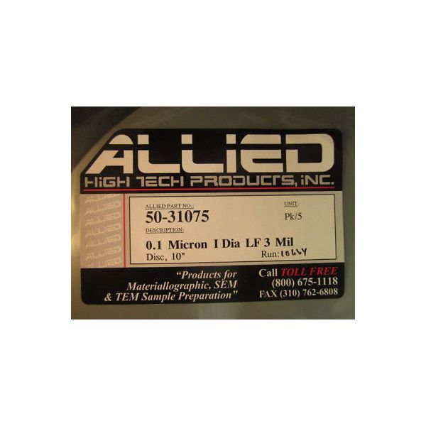 ALLIED HIGH TECH 50-31075 0.1 MICRON I DIA LF 3 MIL (PACK OF 5)