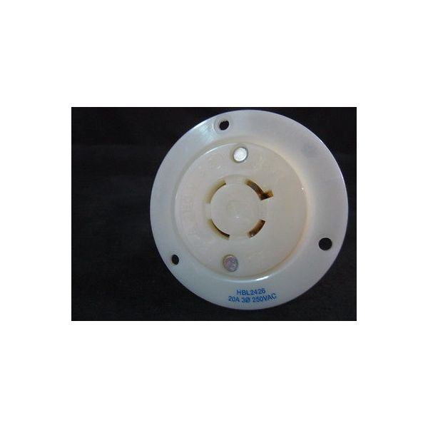 HUBBELL HBL2426 AC Flanged Outlet NEMA L15-20 Female White,20 AMP, 3 PHASE 250V