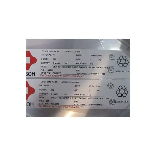 """TOSOH 3798F-22-008-500 TARGET VECTRA 0.25\"""""""