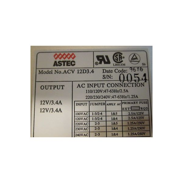 AXCELIS 1135180 ASTEC ACV 12D3.4 POWER SUPPLY