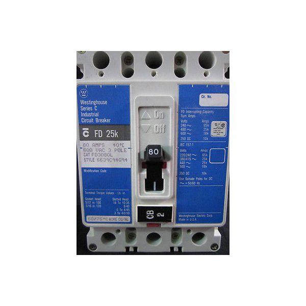 Westinghouse FD 25k Circuit Breaker, 80A, 600 VAC, Series: C, 3 Pole,