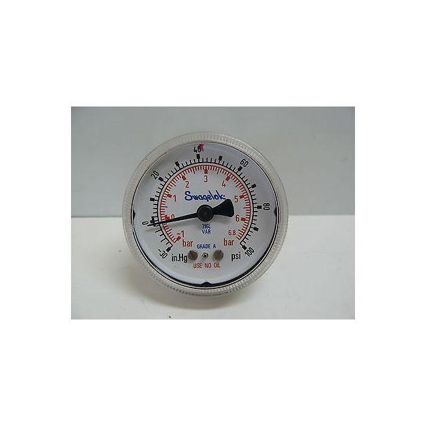 SWAGELOK PGU-50-PC100-C-4FSM PRESSURE GAUGE 0-100 PSI 0TO -30 IN HG