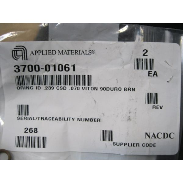 Applied Materials AMAT 3700-01061 ORING ID 239 CSD 070 VITON 90DURO BRN