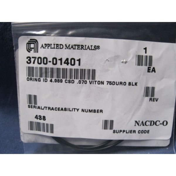 Applied Materials AMAT 3700-01401 ORING ID 4989 CSD 070 VITON 75DURO BLK