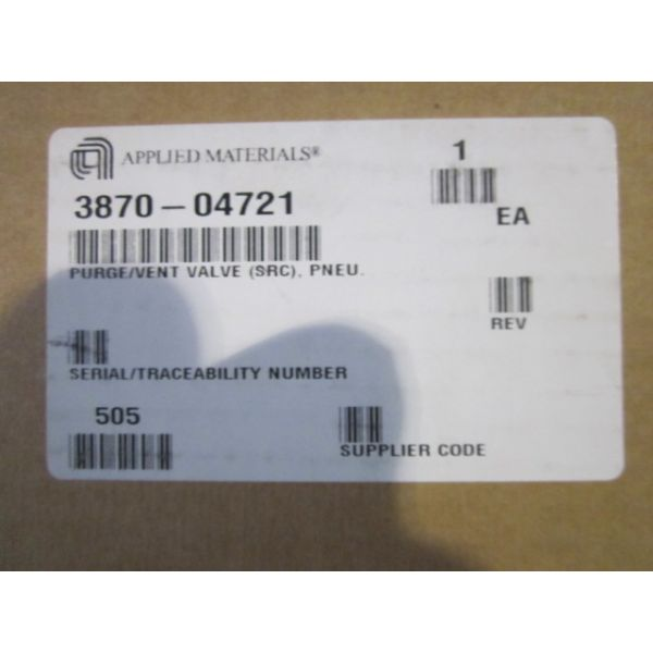 Applied Materials AMAT 3870-04721 PURGEVENT VALVE SRC PNEU