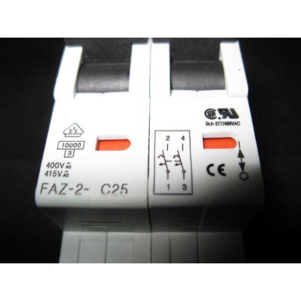 KLOCKNER-MOELLER FAZ-2-C25 BREAKER 25A 400V 2PL