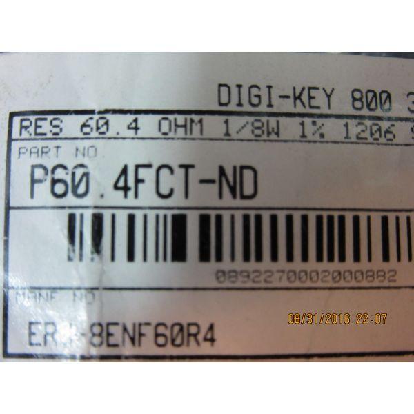 DIGI-KEY P604FCT-ND RES SMD 604 OHM 1 18W 1206